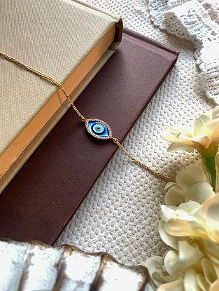 Blue Gold Tone Enameled Bracelet