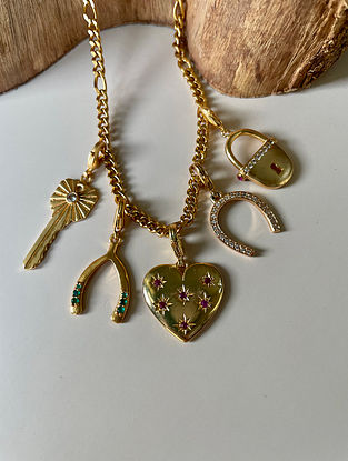 Red Green Gold Tone Handcrafted Necklace