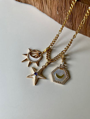 White Purple Gold Tone Handcrafted Necklace