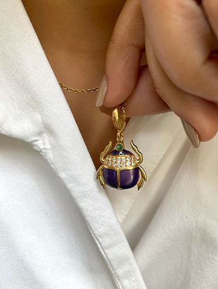 Purple Gold Tone Enameled pendant with chain