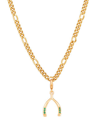 Green Gold Tone Handcrafted chain with pendant