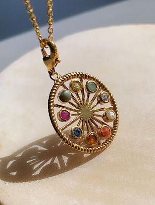 Multicolored Gold Tone Handcrafted chain with pendant
