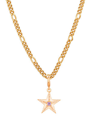 White Purple Gold Tone Handcrafted chain with pendant