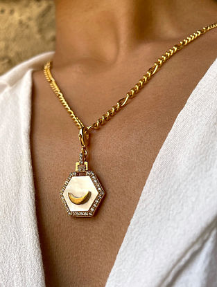 White Gold Tone Handcrafted chain with pendant