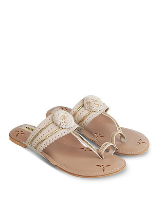 Beige Handcrafted Faux Leather Kolhapuri Flats