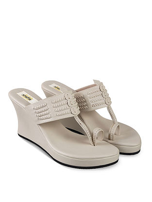 Taupe Handcrafted Faux Leather Kolhapuri Wedges