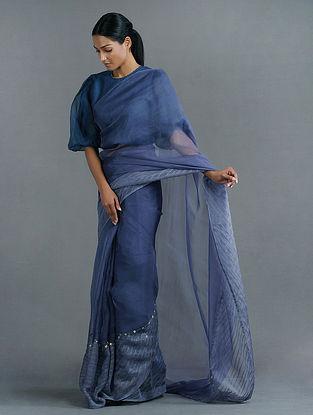 Blue Handwoven Silk Organza Saree