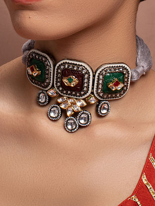 Green Red Silver Tone Kundan Choker Necklace
