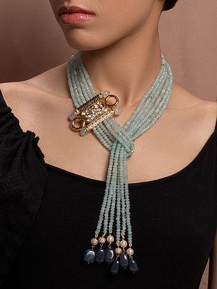 Blue Gold Tone Kundan Beaded Necklace