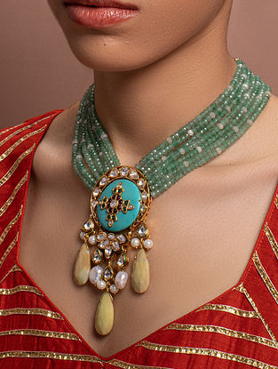 Green Turquoise Kundan Beaded Necklace