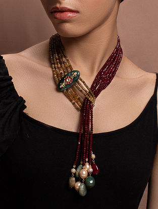 Red Brown Gold Tone Kundan Beaded Necklace With Earring