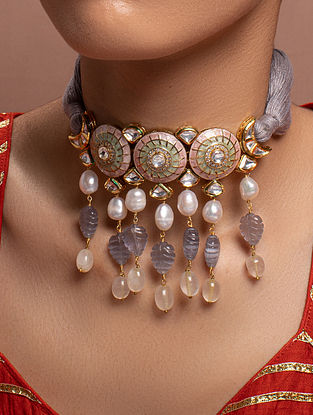 Grey Pink Kundan Enameled Necklace With Pearls