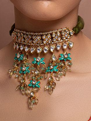 Green White Gold  Tone Kundan Enameled Choker Necklace