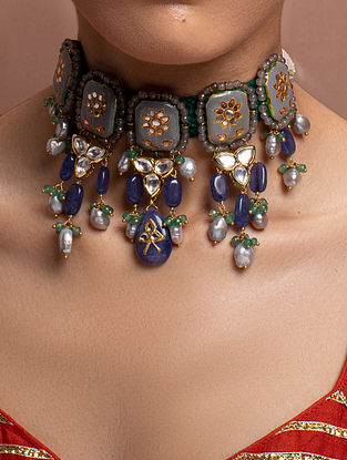 Grey Green Gold Tone Kundan Enameled Necklace With Pearls