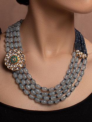 Blue Grey Gold Tone Kundan Beaded Necklace