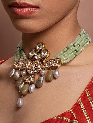 Green Gold Tone Kundan Beaded Necklace