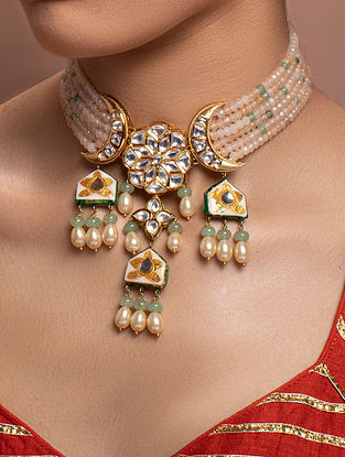 Cream Green Gold Tone Kundan Beaded Necklace With Pearls