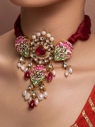 Red Pink Gold Tone Kundan Enameled Necklace