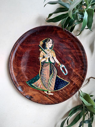 Multicolored Teak Wood Hand painted Wall Plate (L-10in, W-10in)