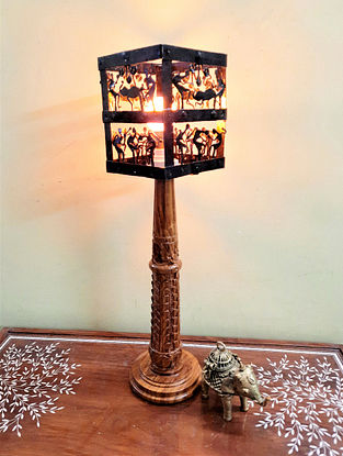 Natural Brown Teak Wood Hand Carved Lamp with Wrought Iron Shade