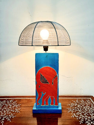 Blue and Orange Teak Wood Handcrafted Gond Art Lamp with Metal Shade