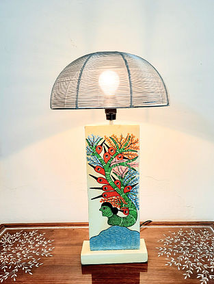 Multicolored Teak Wood Handcrafted Gond Art Lamp with Metal Shade