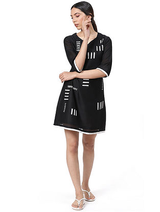 Black Handwoven Silk Cotton Dress