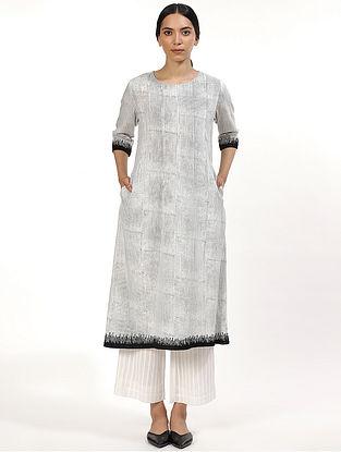 Black Hand Block Printed Cotton Kurta Dress