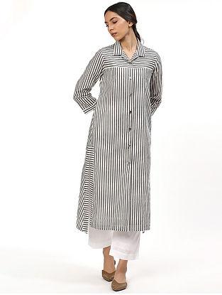 Black and White Cotton Kurta Dress