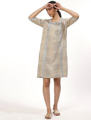 Beige Hand Block Printed Cotton Dress