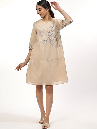 Beige Handwoven Cotton Dress