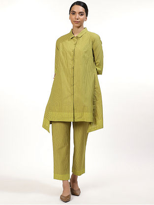 Lime Green Cotton Cambric Hand Block Printed Kurta Dress