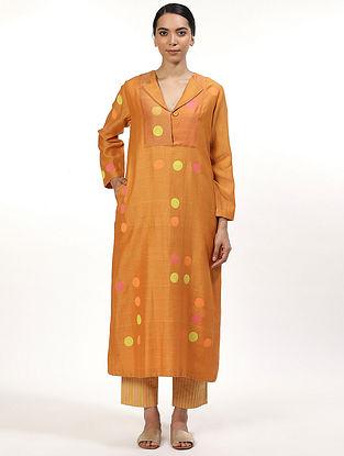 Orange Hand Block Printed Chanderi Kurta