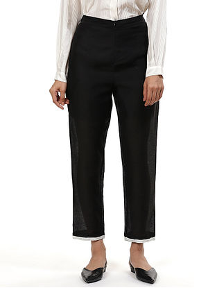 Black Handwoven Silk Cotton Pants