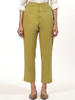 Lime Green Cotton Cambric Pants