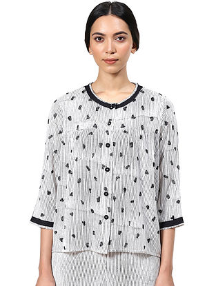 Black and White Block Printed Cotton Top