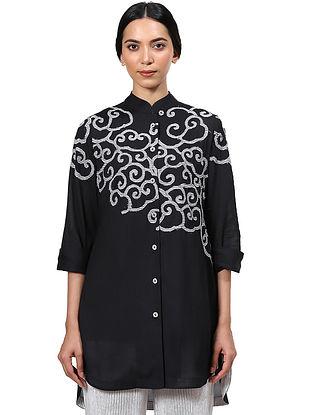 Black Hand Block Printed Cotton Shirt