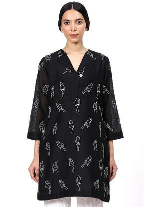 Black Hand Painted Silk Cotton Tunic