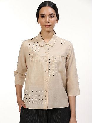Beige Handwoven Mangalgiri Cotton Top