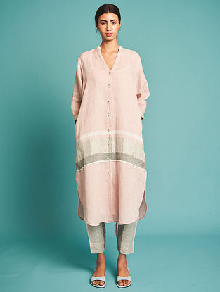 Nia Pink Linen Kurta with Slip(Set of 2)