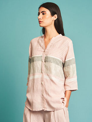 Enzo Pink Linen Shirt with Slip(Set of 2)