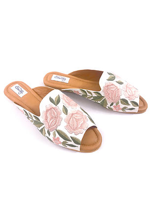 Multicolored Embroidered Faux Leather Flats