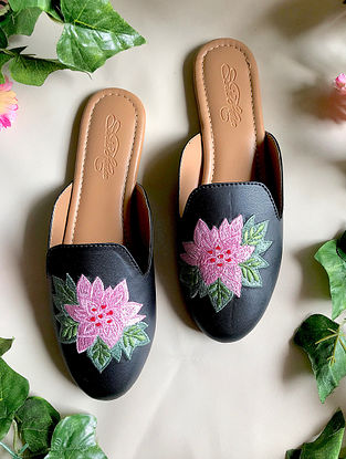 Black Embroidered Faux Leather Mules