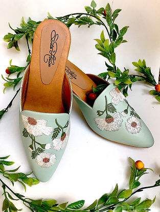Green Embroidered Faux Leather Block Heels