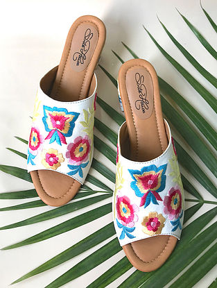 Multicolored Embroidered Faux Leather Block Heels