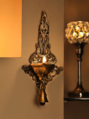 Antique Brass Wall Diya with Bell (L-8in, W-4in)