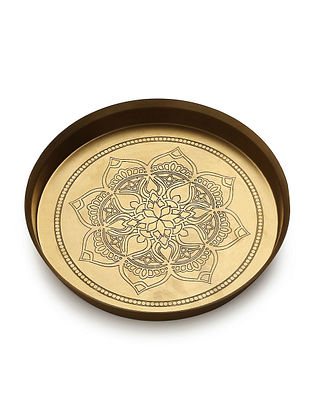 Antique Brass Handcrafted Thali (L-11.5in, W-11.5in,H-1.5in)