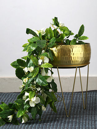 Antique Brass Iron Planter on Metal Stand (Dia-10in,H-14in)