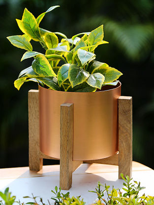 Copper Iron Planter on Wooden Stand (L-8in, W-8in,H-7in)