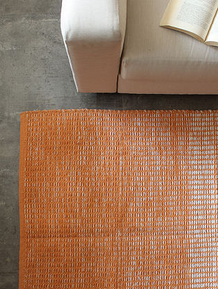 Orange Scaled Furrow Cotton Floor Rug (L-60in ,W-36in)